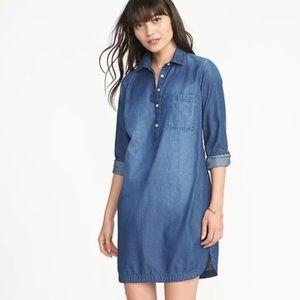 Long Sleeves Chambray Shirt Dress